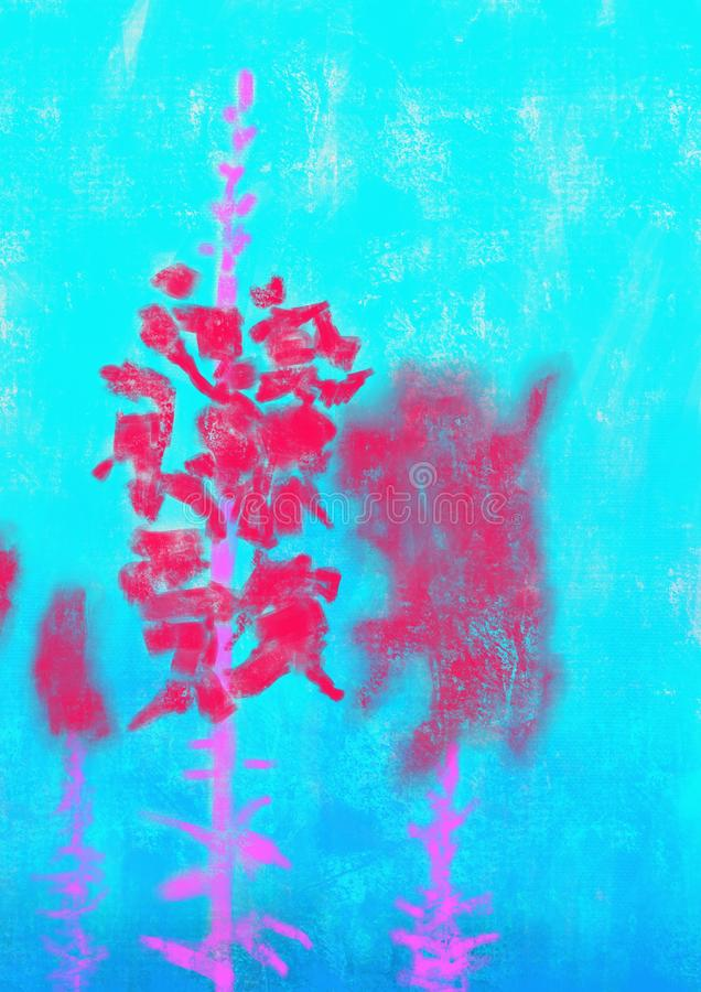 Pink And Red Flower On Azure. These red flowers with a pink stem rest against a bright azure background royalty free illustration