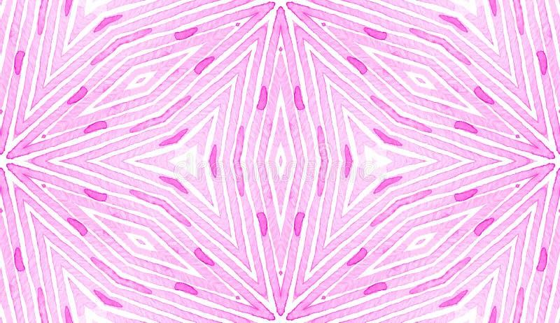 Pink red Geometric Watercolor. Delicate Seamless P. Attern. Hand Drawn Stripes. Brush Texture. Unique Chevron Ornament. Fabric Cloth Swimwear Design Wallpaper vector illustration