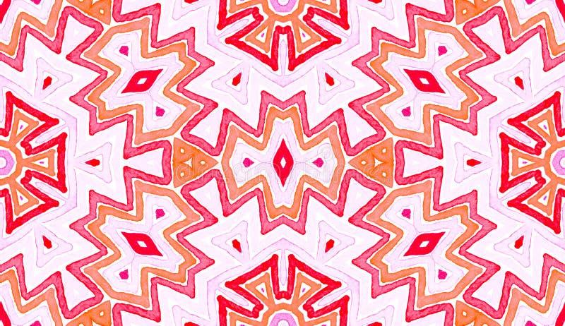 Pink red Geometric Watercolor. Delightful Seamless. Pattern. Hand Drawn Stripes. Brush Texture. Attractive Chevron Ornament. Fabric Cloth Swimwear Design stock illustration