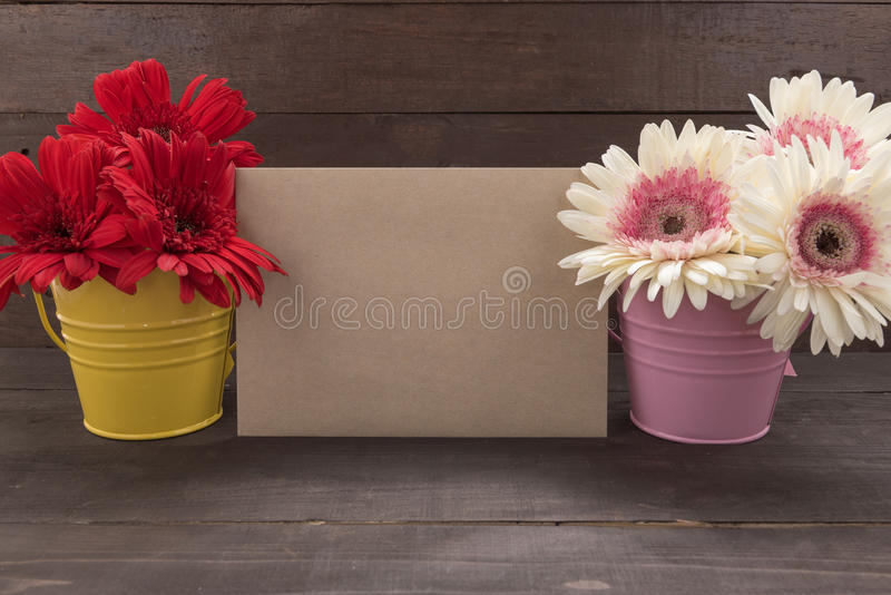 Pink and red gerbera flowers are in the flowerpots, on the wooden background with brown car. D stock image
