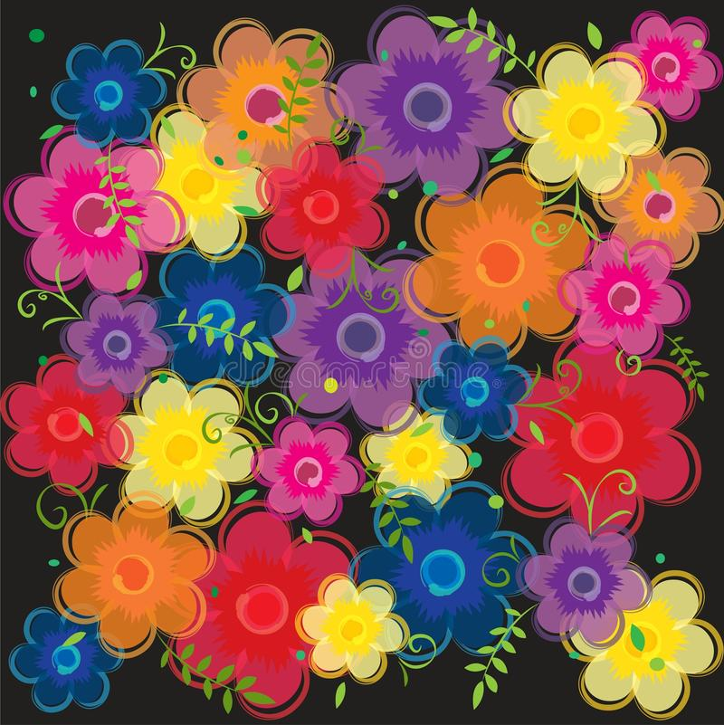 Pink red purple orange blue yellow Floral flowers background wallpaper stock illustration