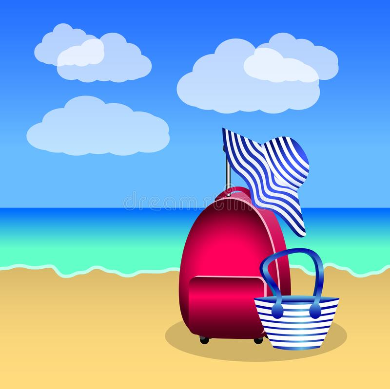Pink red suitcase, beach bag and hat with blue stripes on the be stock illustration