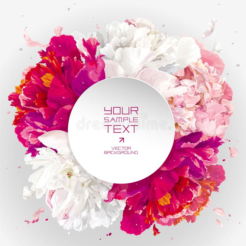 Pink, red and white peony background vector illustration