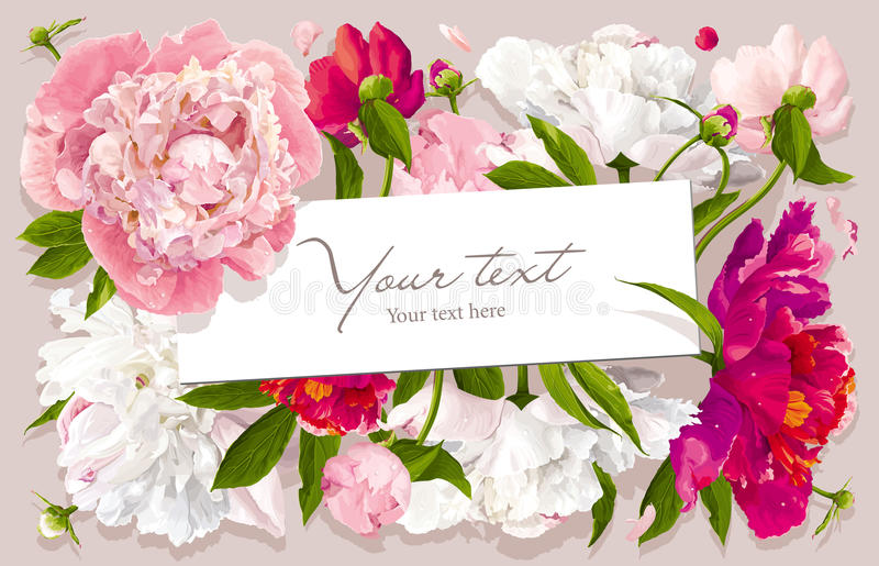 Pink, red and white peony greeting card. Luxurious pink, red and white peony flower and leaves greeting card with a paper label