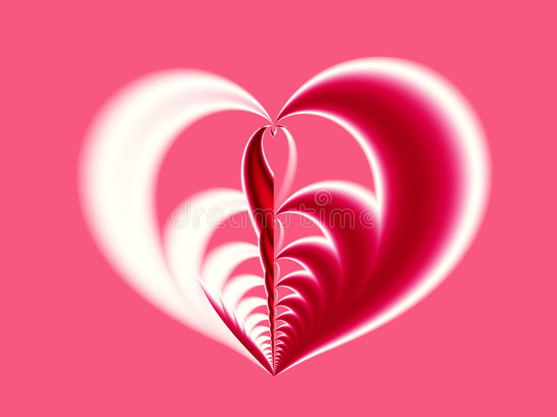 Pink, red and white Valentine fractal depicting a big heart with different halves. Suitable for many creative Valentine or wedding designs or as a background royalty free illustration