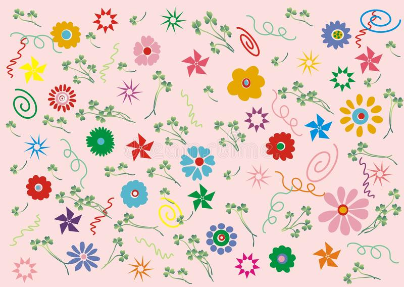Pink retro floral stock image