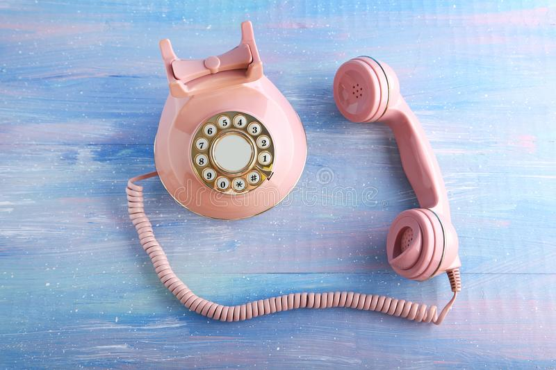 Pink retro telephone stock images