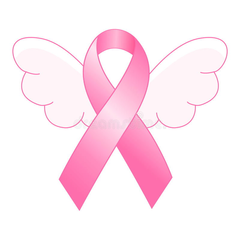 Pink ribbon. Breast cancer awareness ribbon with wings concept