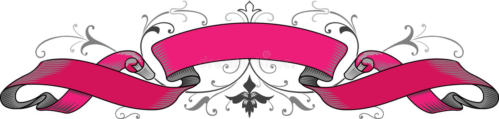 Pink ribbon. Tape for a mediaval decoration royalty free illustration