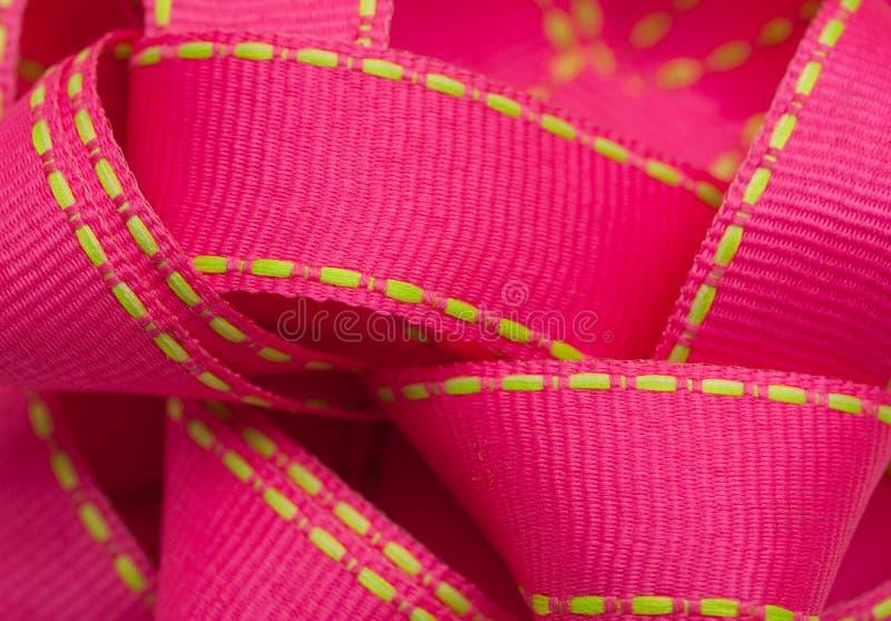 Pink ribbon. Closeup of pink ribbon for present royalty free stock photos