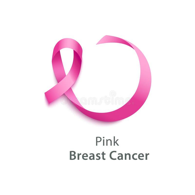 Pink ribbon - breast cancer awareness day symbol. Vector illustration. Pink ribbon - breast cancer awareness day symbol. Realistic silk ribbon curved into loop vector illustration