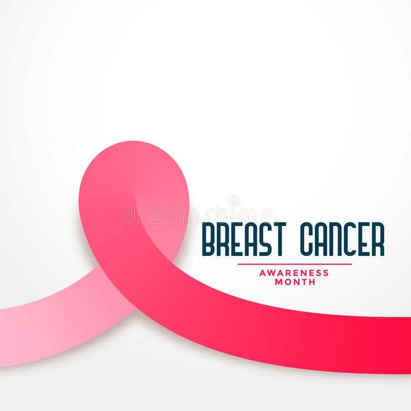 Pink ribbon breast cancer awareness month background poster. Vector royalty free illustration