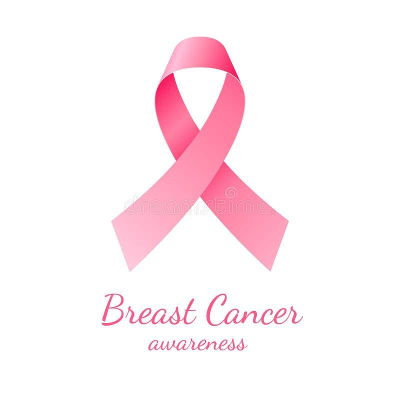 Pink ribbon, breast cancer awareness. Symbol on white background stock illustration