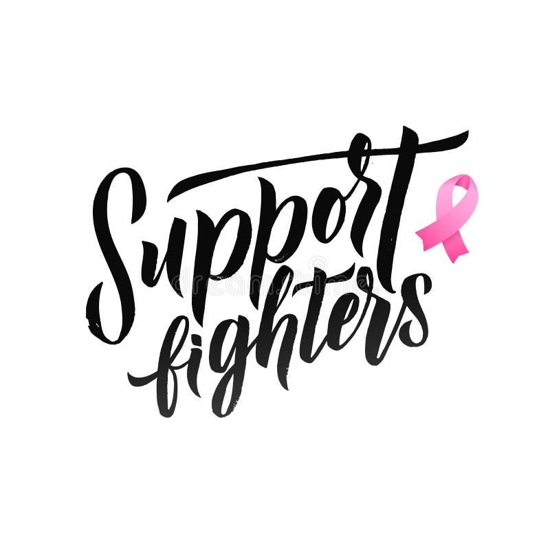 Pink Ribbon Breast Cancer Awareness Vector Illustration. Support Fighters. Pink Ribbon Breast Cancer Awareness Vector Illustration stock illustration