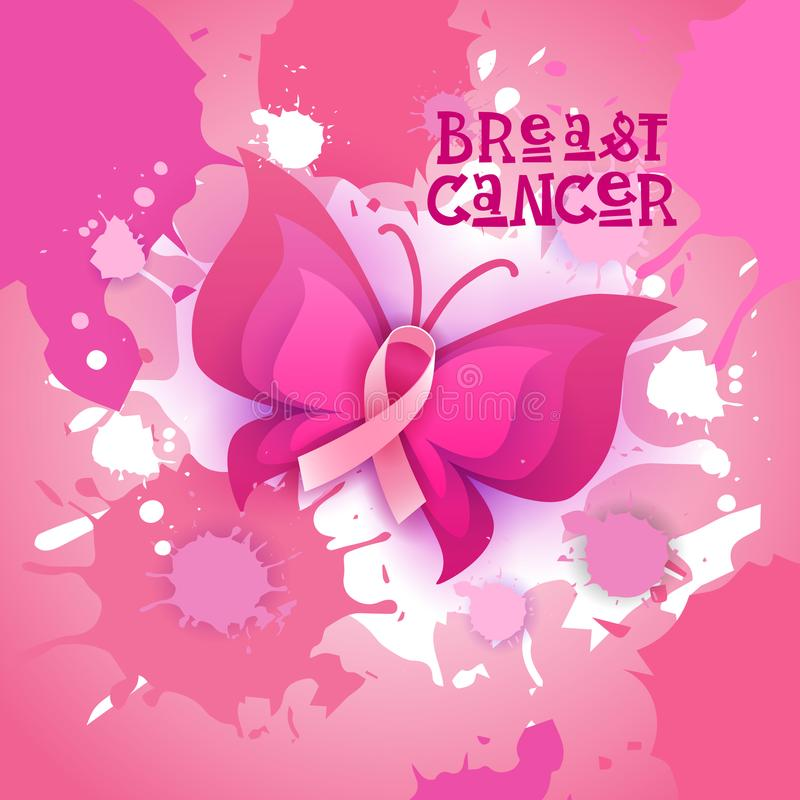 Free Pink Ribbon Butterfly Breast Cancer Awareness Banner Stock Images - 100940984