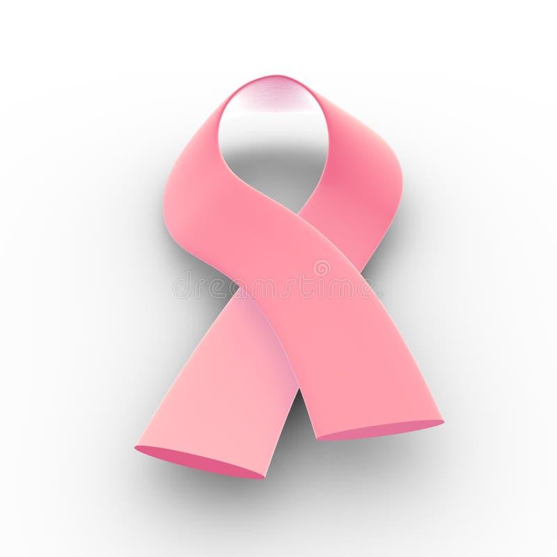 Pink ribbon - cancer. 3D illustration of a pink ribbon - cancer royalty free illustration