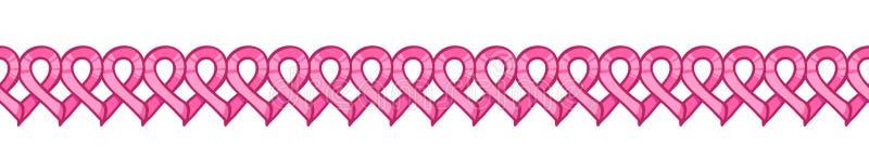 Pink ribbon, international symbol of breast cancer awareness. Pink ribbon seamless border, international symbol of breast cancer awareness. Vector hand drawn vector illustration