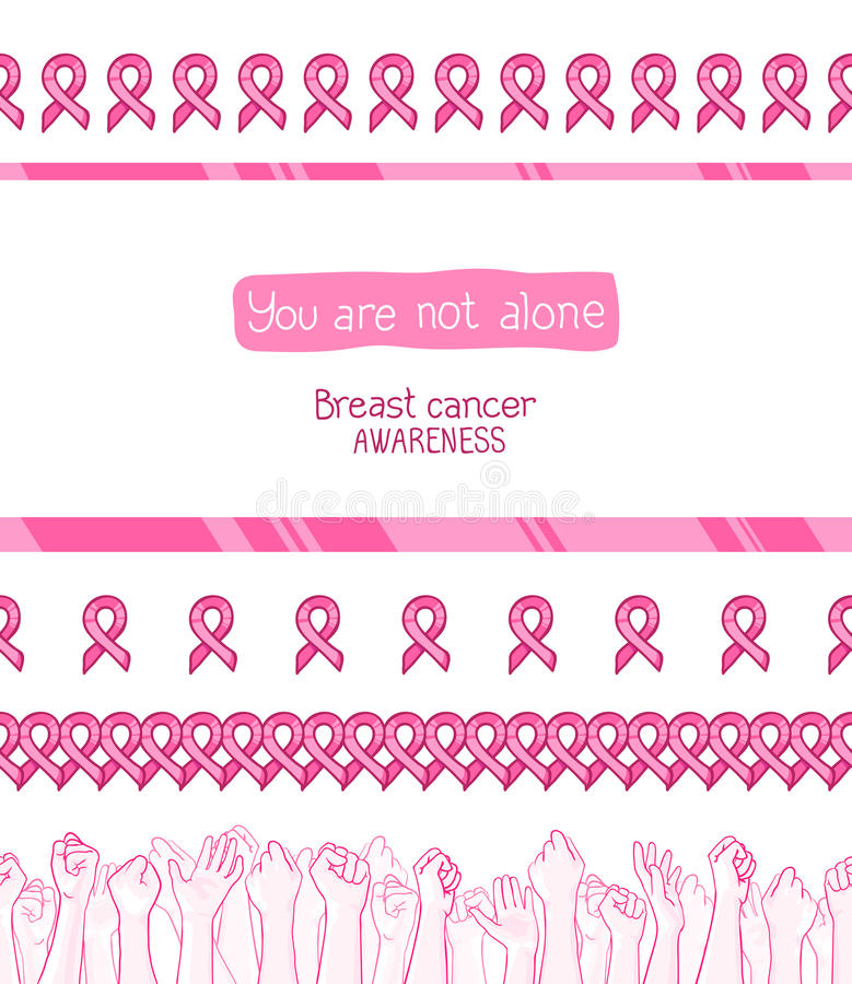 Pink ribbon, international symbol of breast cancer awareness. Vector hand drawn illustration. You are not alone. Set of seamless borders with ribbons and vector illustration