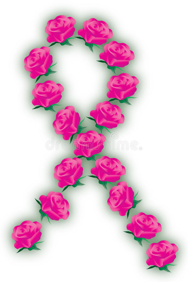 Pink Ribbon with Roses stock illustration