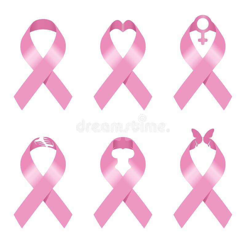 Pink ribbon sign vector illustration set design for Breast cancer awareness royalty free illustration