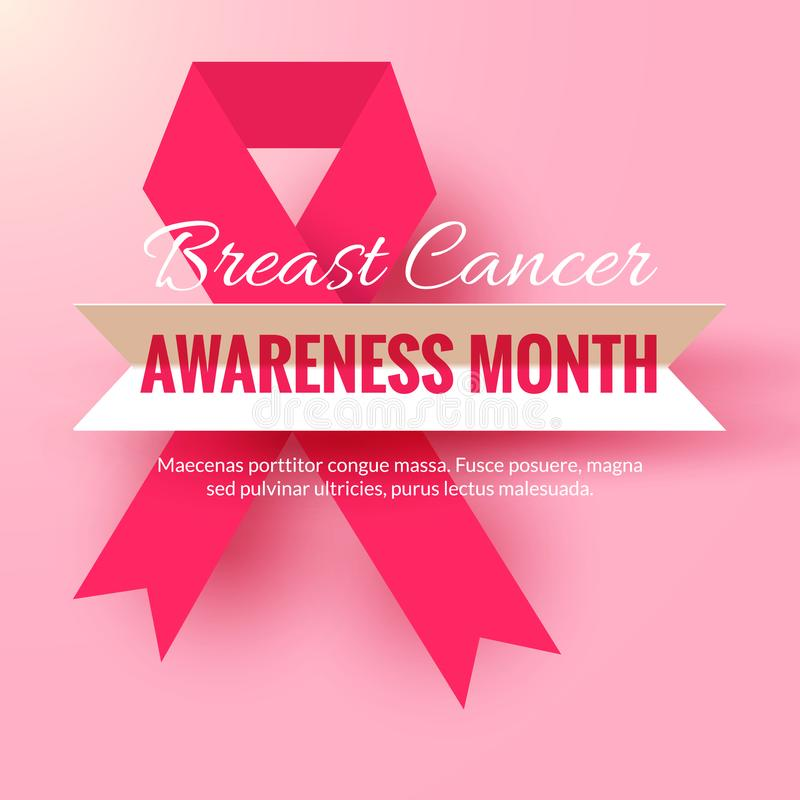 Pink ribbon symbol on light background. October Breast Cancer Awareness Month Campaign vector illustration