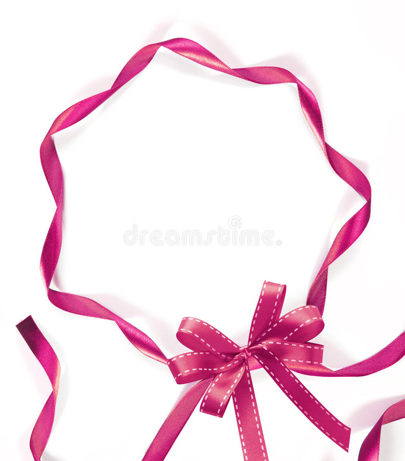 Pink ribbon on white background royalty free stock photography