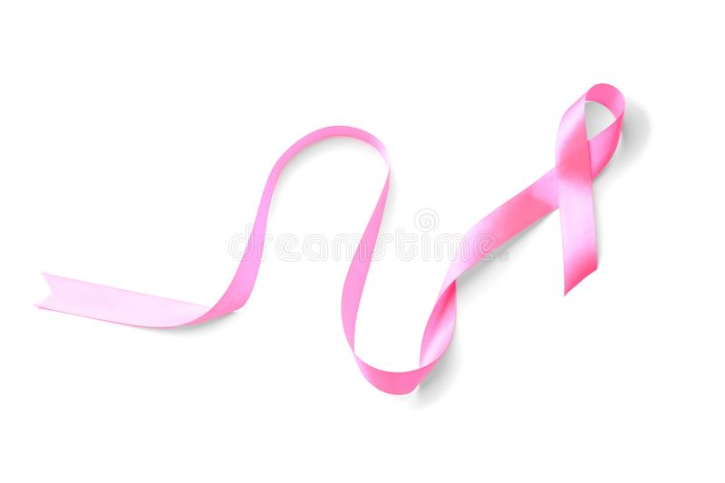 Pink ribbon on white background. Breast cancer concept stock images