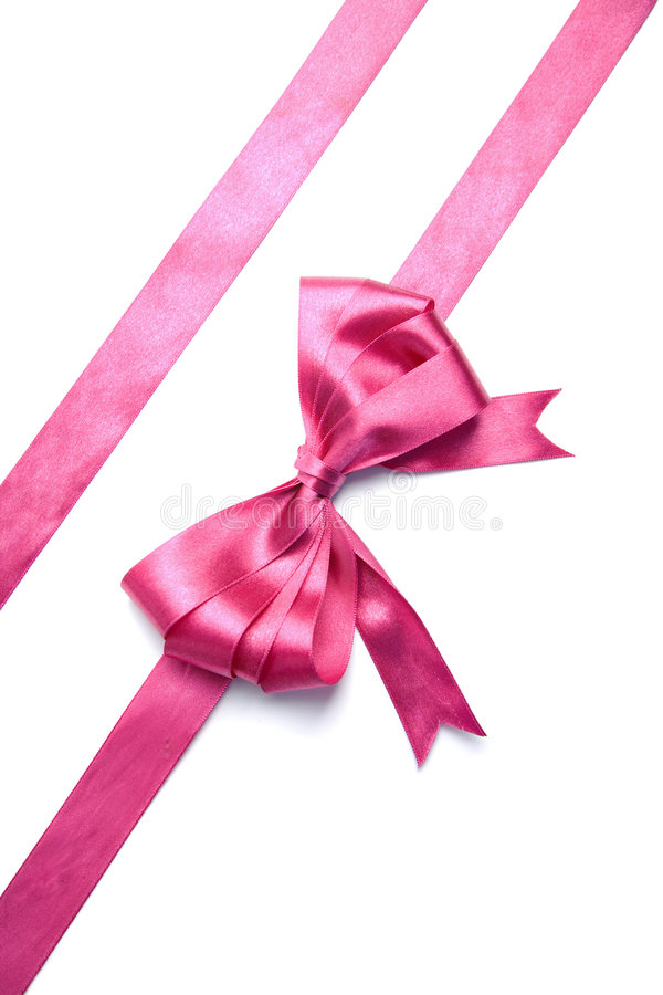 Free Pink Ribbon With Bow Isolated Stock Image - 7490841