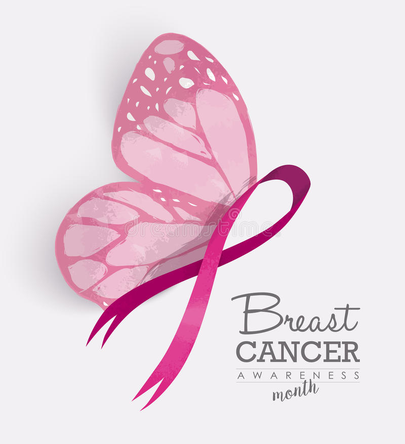 Free Pink Ribbon With Butterfly Wings For Breast Cancer Royalty Free Stock Images - 75015719