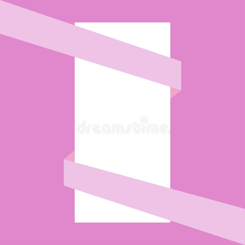 Pink ribbon wrapping white sheet of paper stock illustration