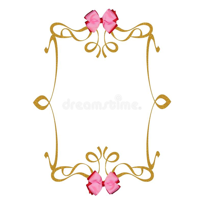Download Pink Ribbons Bows Gold Frame Background Stock Illustration - Illustration of pink, feeling: 21666237