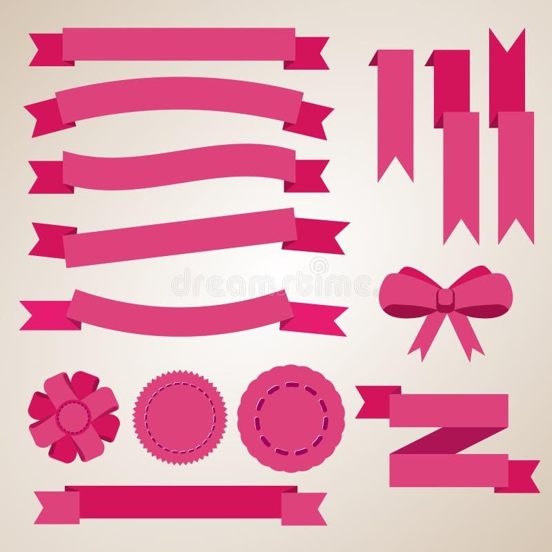 Pink ribbons set royalty free illustration