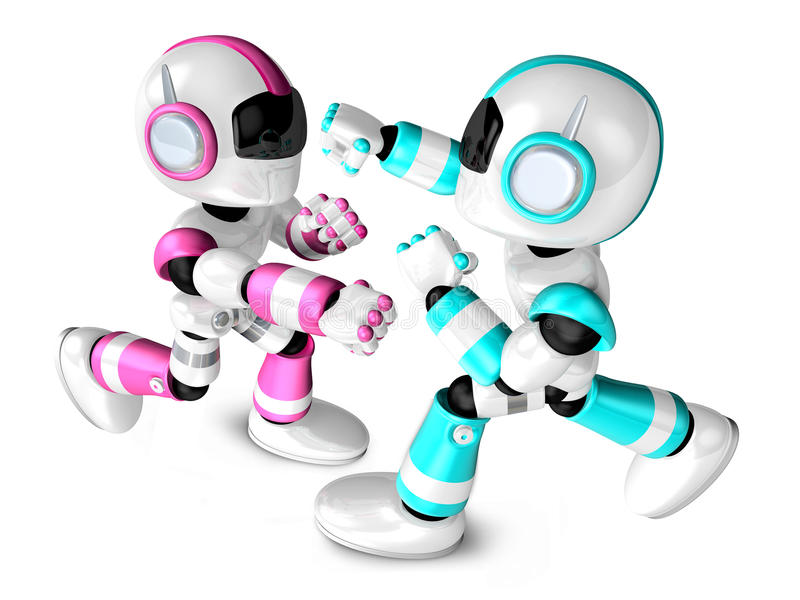 The pink robots and sky blue robot boxing matches. Create 3D Hum