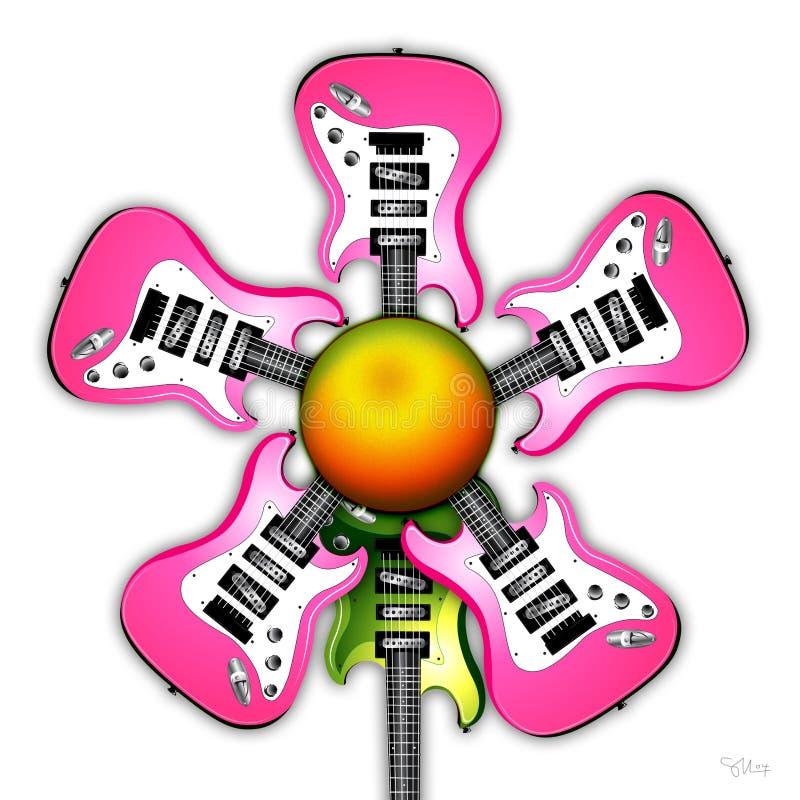 Pink Rock Guitar Flower