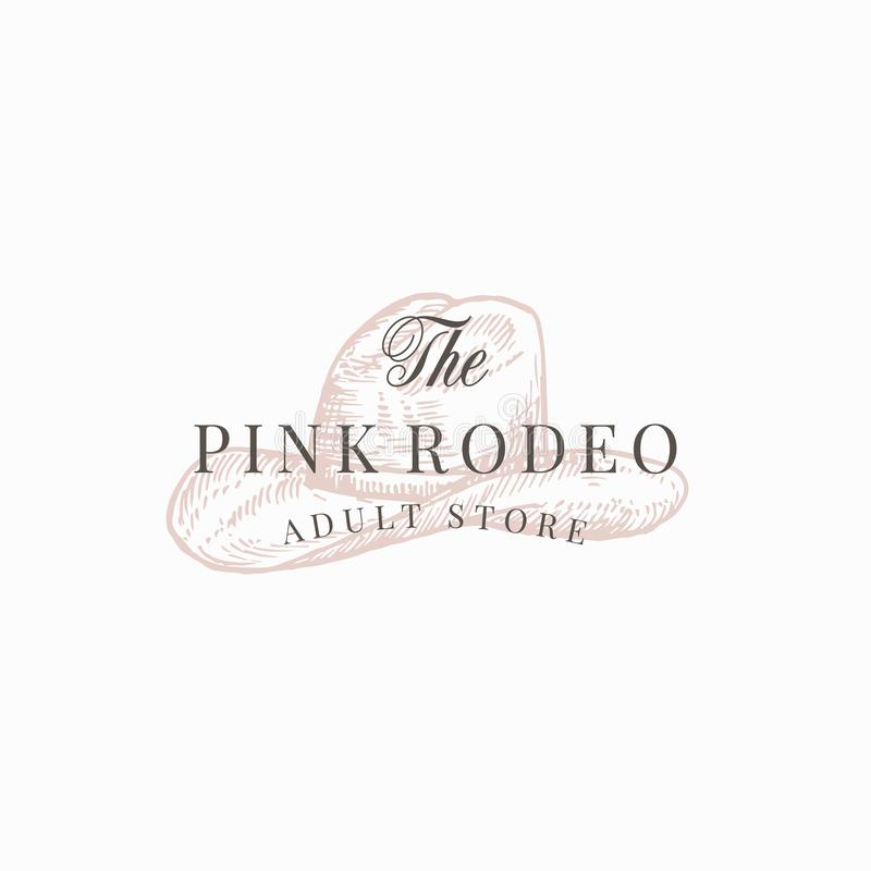 Pink Rodeo Adult Store. Abstract Vector Sign, Symbol or Logo Template. Cowboy Hat Sketch Drawing with Retro Typography royalty free illustration