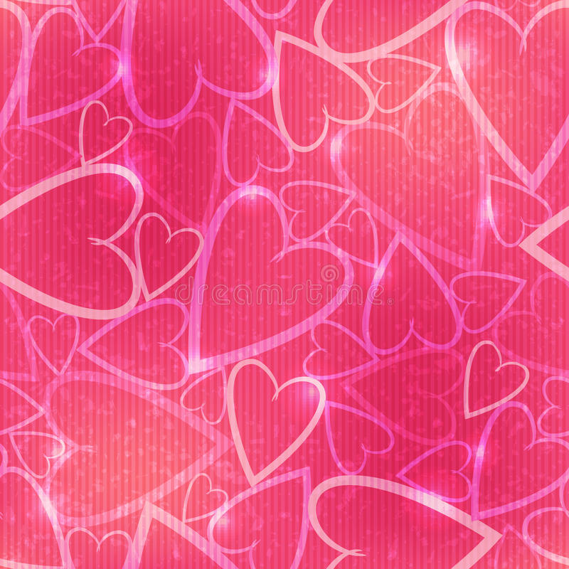 Pink romantic seamless pattern with hearts vector illustration