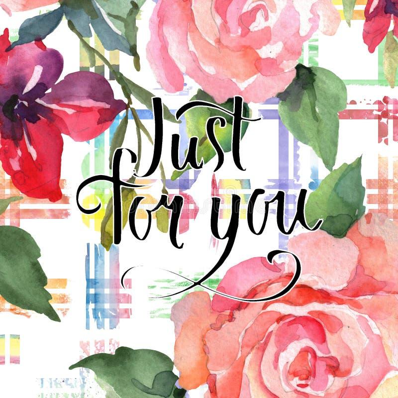 Pink rose bouquet floral botanical flowers. Wild spring leaf wildflower. Watercolor background card illustration set. Pink rose bouquet floral botanical flowers stock illustration