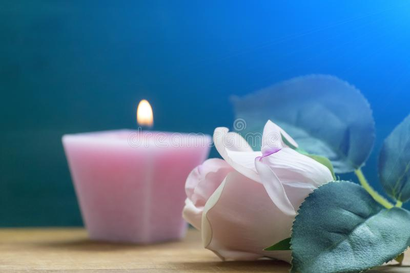 Pink rose and a pink candle on a blue background. Interiors. The concept of romance stock photo