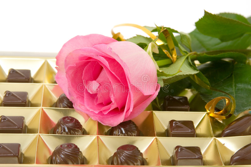 Pink Rose And Chocolate Box Royalty Free Stock Images