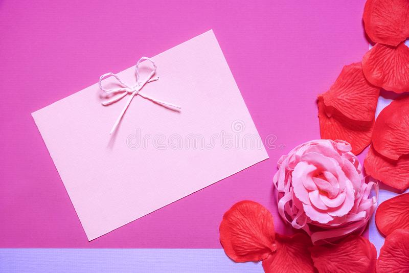 Download Pink Rose And A Cute Message Card Stock Photo
