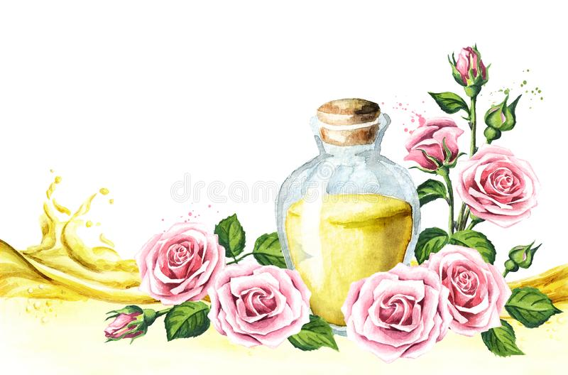 Pink rose flower and essential oil card. Spa and aromatherapy. Watercolor hand drawn illustration, isolated on white background. vector illustration
