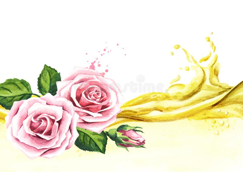 Pink rose flower and essential oil wave. Spa and aromatherapy. Watercolor hand drawn illustration, isolated on white background. stock illustration