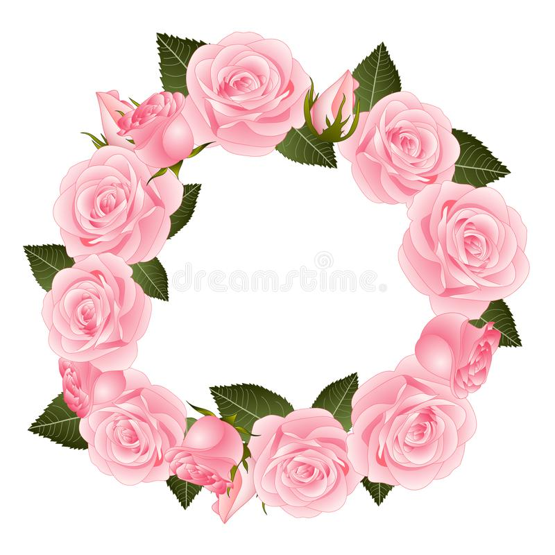 Pink Rose Flower Wreath. isolated on White Background. Vector Illustration royalty free illustration