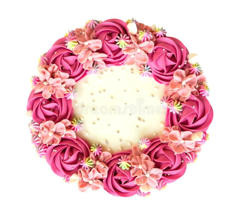 Pink rose flowers cream birthday cake top view isolated on white background, path royalty free stock photos