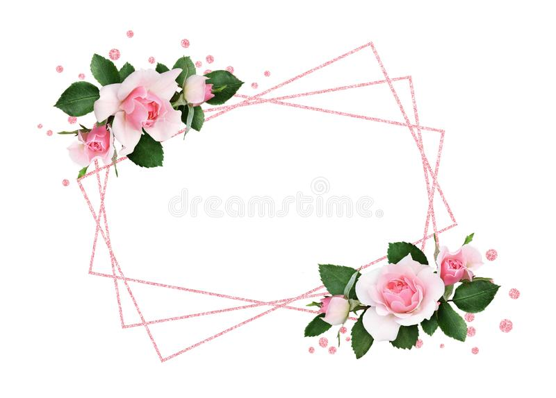 Pink rose flowers and green leaves in a floral corner arrangement and a frame vector illustration