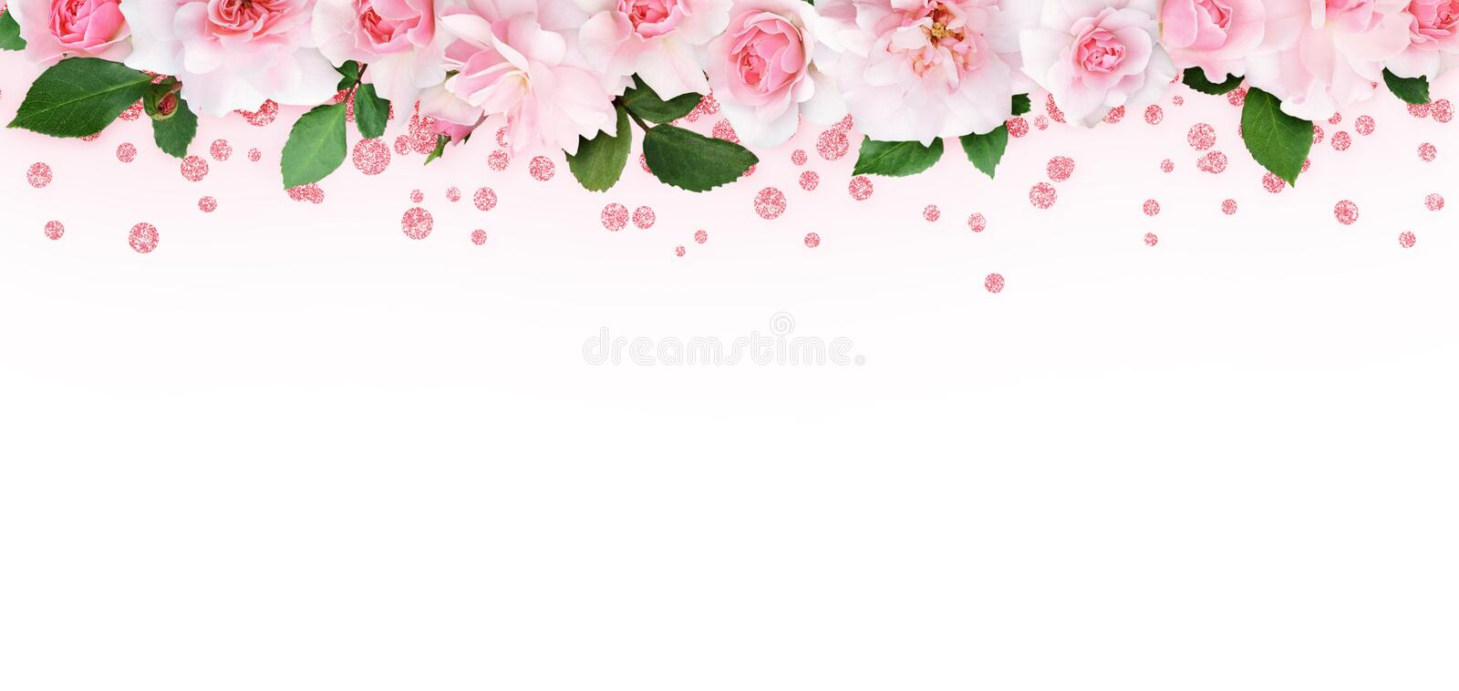 Pink rose flowers and leaves in a top border with glitter confetti. On white background royalty free stock image