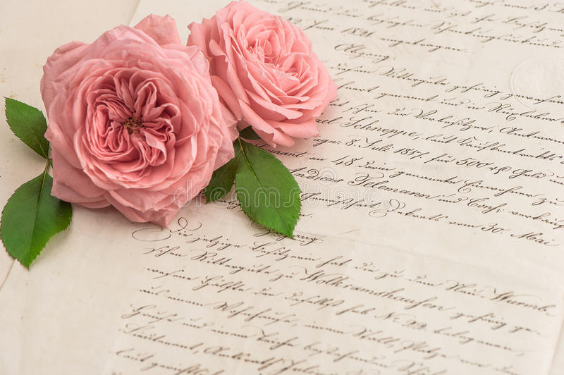 Pink rose flowers over antique handwritten letter royalty free stock photography