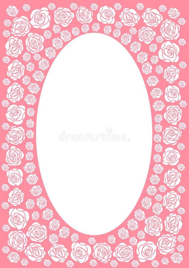 Pink rose frame border stock illustration