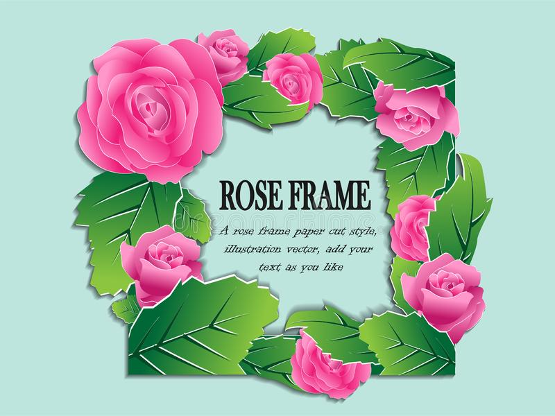 A pink rose frame paper cut style royalty free illustration