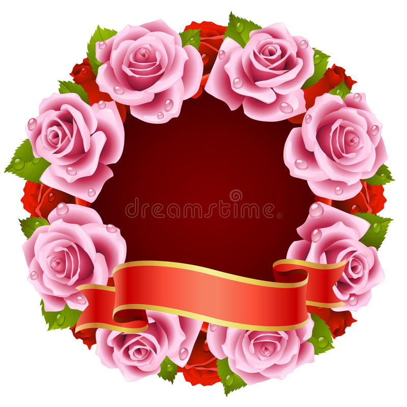 Pink Rose Frame in the shape of round stock illustration